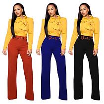 Fashion High Waist Straight-leg Long Pants MEM-8255