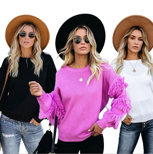 Women Round Collar Tassel Long Sleeves Sweater MA-268