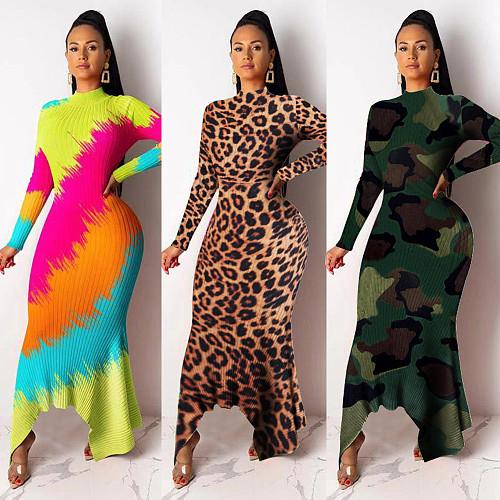 High Collar Irregular Hem Long Sleeve Nightclub Maxi Dress NY-8862