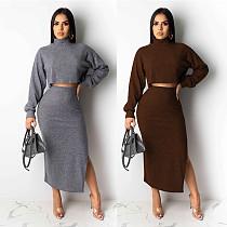 High Neck Long Sleeve Crop Top+Side Split Long Dress NY-8872