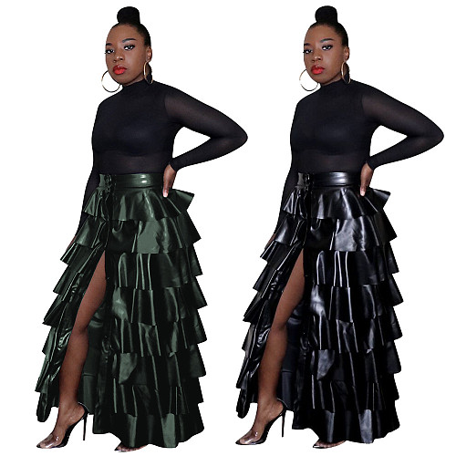 Women Flounced PU Leather Skirt MEM-8254