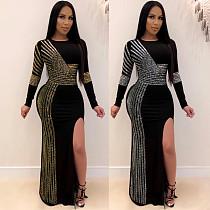 Rhinestone Side Split Long Sleeve O-neck Maxi Dress NY-8882