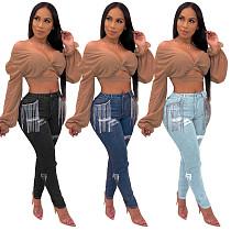 Women Fashion Ripped Tassel Jeans SH-3694