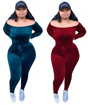 Sexy Off Shoulder Solid Bodycon Long Jumpsuit OYF-8126
