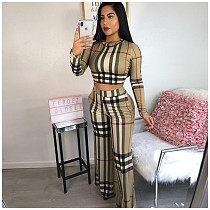 Leisure Plaid Printed O Neck Wide-legs Pants Set 2 Pieces ORY-5057