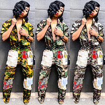 Camouflage Printed Thick Thin Style Women Jumpsuit SH-3454