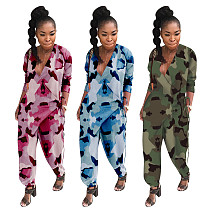 Sexy Low-cut Camouflage Print Loose Bloomers Jumpsuit OY-6068