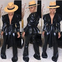 Fashion Puff Sleeve Slim Sashes Leather Two Pieces Set CY-1996