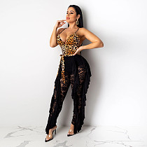 Hollow Out Sexy Sling V-neck Leopard Lace Women Jumpsuit SH-3693