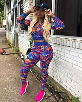 Fashion Printed Long Sleeves Bodycon Pants Suits 2 Pieces OM-1017