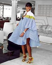 Leisure Loose Stripe Irregular Shirt Dress DM-8041