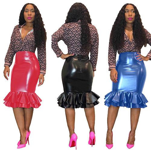 Leather Tight Back Zipper Fishtail Skirts DM-8032