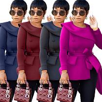 Women Solid Color Long Sleeves Irregular Tops OJS-9168