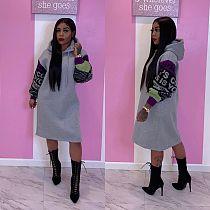 Loose Letter Printing Sleeve Knee Length Hoodies Dress DM-8110