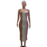 Sexy Backless Leopard Print Skinny Maxi Dress (with Scarf) OJS-9129