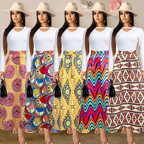 Fashion Printed Back Zipper Wide Bottom Skirts PN-6275