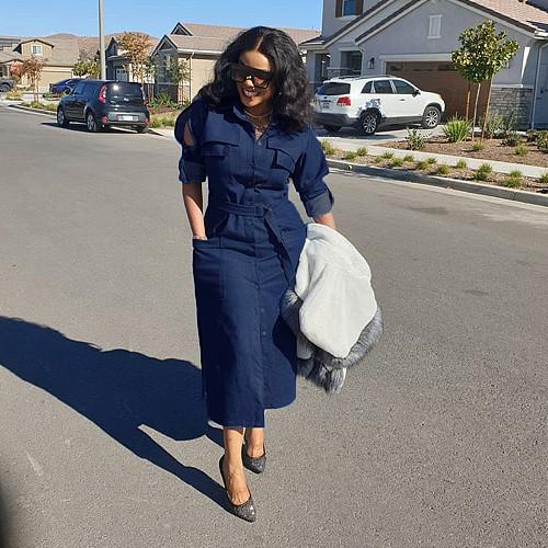 Office Denim Shirt Maxi Dress with Belt PN-6291