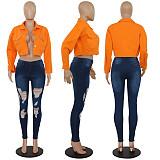 Button Lapel Denim Jean Short Jackets PN-6279