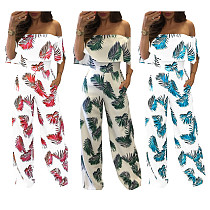 Printed Ruffle Collar Loose Party Jumpsuits NK-8130