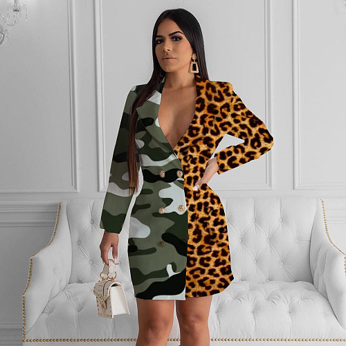 Fashion Leopard Camouflage Printed Patchwork Mini Dress KSN-5082