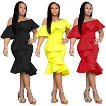 Ruffle Collar Irregular Bodycon Party Dress NK-8401