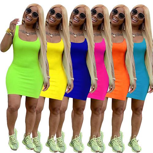 Summer Solid Sleeveless Casual Suspender Dress NK-8399