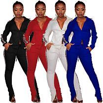 Fashion Leopard Print Patchwork Zipper Bodycon Pants Set 2 Pcs PIN-8459