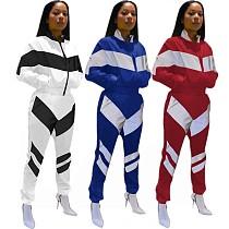 Casual Women Patchwork Zipper Sport Pants Set 2 Pcs PIN-8174