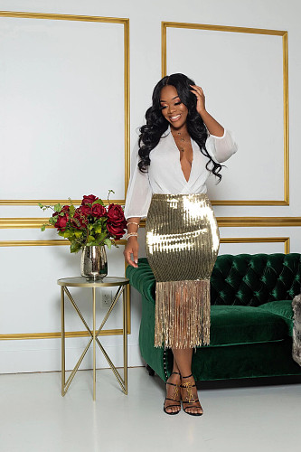 Golden Sequin Tassel Nightclub Skinny Skirt PIN-8485