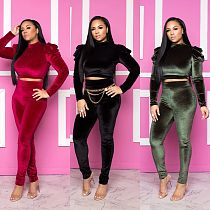 Women Solid Puff Sleeve Crop Top and Skinny Pants TR-996