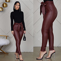 Fashion Leather Skinny Nightclub Pant with Belt WZ-8247