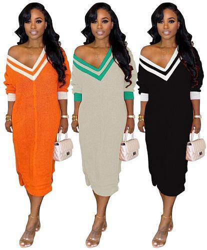 Casual V-neck Long Sleeve Stripe Ankle-length Sweater Dress BS-1155