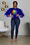 Fashion Lips Offset Print Cascading Mesh Sheer Sleeves T-shirt BS-1122