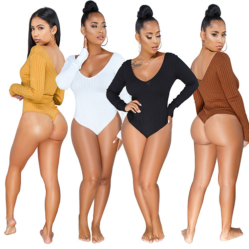 Sexy Women V Neck Long Sleeve Bodysuits WY-6502