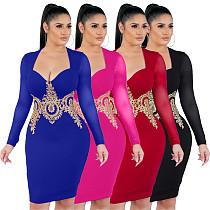 Sexy Applique Decorated Mesh Club Dress WZ-8221