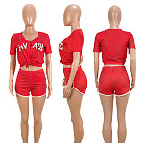 Striped Letter Baseball Two Pieces Short Set ASL-6025