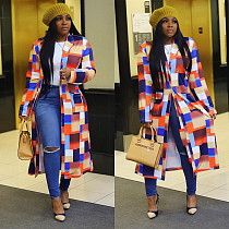 Long Multicolor Plaid Printed Double Breasted Lapel Cardigans CH-8088
