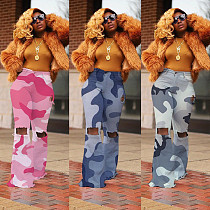 Camouflage Hole Button Waist Flared Pants CH-8063