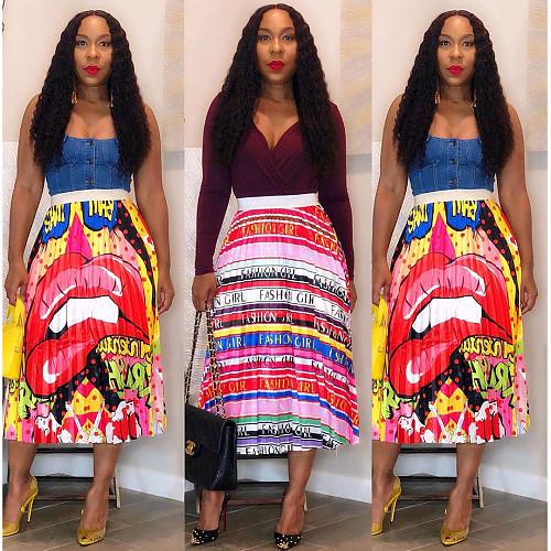 Nightclub Lip Letter Stripe Printed Pleated Skirt ASL-6233