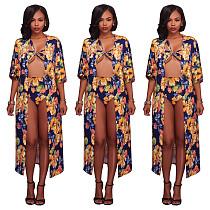 Petal Printing See Through High Waist Bikini Robe Three Pieces Set ME-421