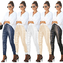Elastic Leather Sequin Drawstring Skinny Pants ME-193