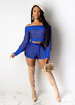 Sexy Off Shoulder Sweater Shorts Set 2 Pieces ZS-066