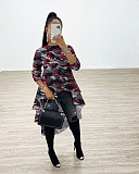 Stylish Printing Round Collar Irregular Hem Long T-shirt Top XMY-9219