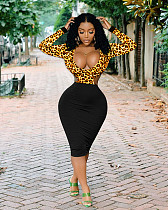 Sexy Hollow Out Low Cut Leopard Printed Patchwork Bodycon Midi Dress NIK-033