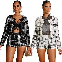 Stylish Plaid PU Leather Jacket Silk Stitching Shorts Set 2 Pieces ZS-0233