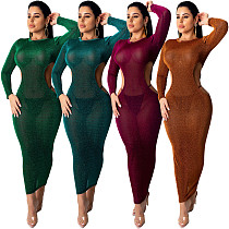 Sexy Hollow Out Full Sleeve Round Neck Ankle-length Nightclub Dress ML-7278