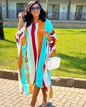 2020 Fashion Striped Loose Printed Maxi Dress BS-1164