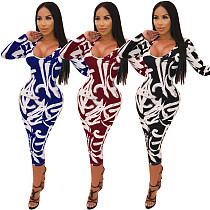 Fashion Prints U Neck Long Sleeve Skinny Maxi Dress ML-7271