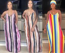 Fashion Tie-dye Straps Ankle-length Maxi Dress HGL-1303