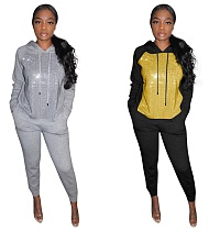 Fashion Sequins Hoodies Sweater and Sport Pants MTY-6235